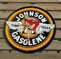 VINTAGE JOHNSON GASOLINE PORCELAIN GAS SERVICE STATION PUMP PLATE SIGN