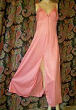 Vintage Val Mode Coral Nylon Tricot Empire Sweep Nightgown Nighty M