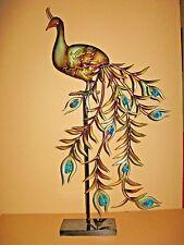 """Large Peacock Bird Metal Figurine Sculpture Art Colorful 30"""""""