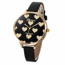 Ladies Fashion Gold Case Black & Gold Heart Design Face Slim Band Wrist Watch.