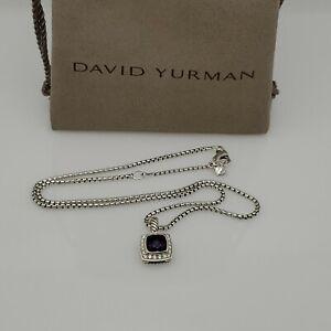 David Yurman Petite Albion Pendant Necklace with Amethyst and Diamonds 16-17''