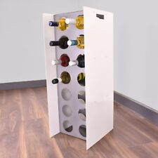 Floor Free Standing Wine Cabinet Steel Rack 14 Bottle Holder Storage - White