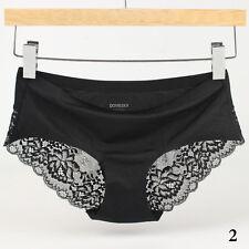 Womens Lace Panties Lingerie Soft Silk Satin Underwear Briefs Knickers G-string