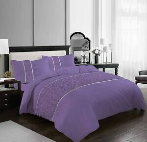 Aurora Duvet Cover Set Ruffled Diamond Lace Sequence Easy Care Polycotton