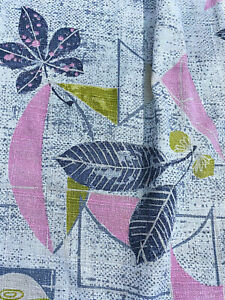 Flamingo Pink Atomic Mid Century Barkcloth VIntage Fabric Drapes Curtains 4Avail