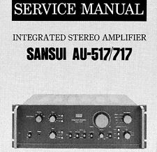 SANSUI AU-517 AU-717 INTEGRATED STEREO AMP SERVICE MANUAL INC SCHEMS PRINTED ENG