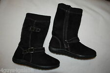 Womens TALL BLACK MOCK SUEDE BOOTS 2 Adjust Buckles RIBBED TOP CUFF Flat Sole 7