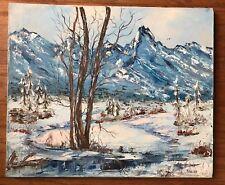 Artist Lila Shelby winter mountain landscape scene original oil painting signed