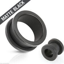 "PAIR-Titanium Black Matte Screw On Tunnels 16mm/5/8"" Gauge Body Jewelry"