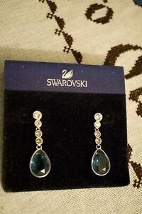 Swarovski Swan Signed Midnight Blue & Clear Crystal Tear Drop Pierced Earrings