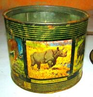 Vintage India Tea Tin Box With Wildlife Finest Indian Tea Tin, All Wild Animals