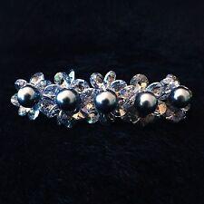 USA BARRETTE using Swarovski Crystal Hair Clip Hairpin Bridal Wedding Blue Gary