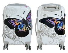 Maleta pequeña para cabina rígida fantasia mariposa blanca 4 ruedas dobles 360º