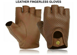 Driving Leather Fingerless Gloves Biker Cycling Wheelchair Gym Padded Gloves New