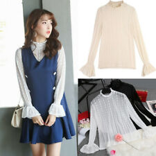 Korean Women Lace See-through Hollow Flare Sleeve Loose Slim T-Shirt Tops Blouse