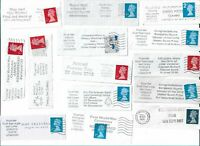 UK Various interesting postmarks on stamps x 25 (Batch 3)