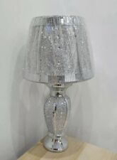 Crushed Crystal Diamante Vase Lamp Silver Romany Bling LED Light