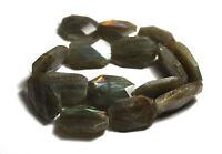 """15.5"""" LARGE NATURAL SHINY Labradorite Free Form (14 to 15) Beads ap20x28mm K6133"""