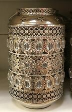 Silver Ornate Floral Jewelled Morrocan Lantern Metal Pillar Candle Holder NEW