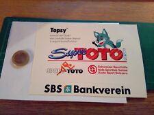 ADESIVO VINTAGE STICKER klebeR TOTO 90 TOPSY SBS BANKVEREIN SUPERTOTO