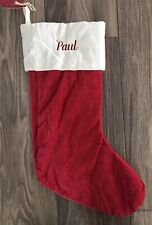 POTTERY BARN CLASSIC VELVET CHRISTMAS STOCKING *PAUL* RED IVORY MEDIUM NEW NWT