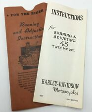 Harley Davidson Motorcycle 45 Twin Model Running & Adjusting Instructions 4537