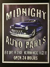 Garage Tin Signs MIDNIGHT AUTO PARTS Vintage & Retro 24h Hotrod Wall Decor