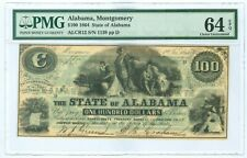ALCR12 1864 $100 State of Alabama Montgomery S/N 1139 PMG 64 EPQ 2nd Finest