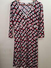 Leona Edmiston ruby asymmetrical red black and white abstract dress Sz 2 exc