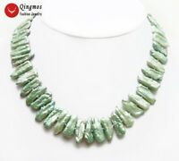 """20-25mm Green Natural Freshwater Biwa Pearl Necklace for Women Chokers 17"""" n6293"""