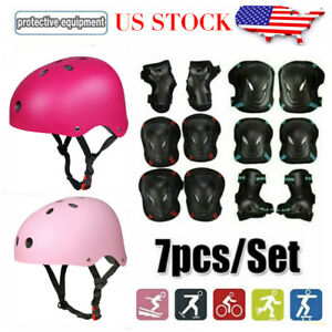 7pcs Elbow Wrist Knee Pads Sport Safety Helmet Protective Gear Guard Women Adult