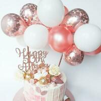 ROSE GOLD BALLOON CAKE TOPPER CONFETTI BABY PARTY BIRTHDAY ARCH GARLAND T1Y5