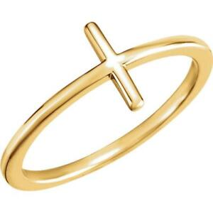 14K Yellow Gold Sideways Cross Ring