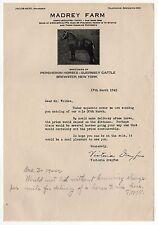 1942 MADREY FARM Brewster New York PERCHERON HORSES Guernsey Cattle HORSE Letter
