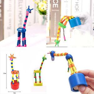 Push Up Wood Pink Giraffe Collectible Beautiful Toy Rare Kids Favorite Gifts