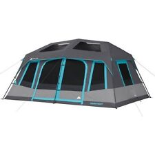 Camping Tent 10 Person Instant Cabin Family 2 Rooms Fits 2 Queen Airbeds Outdoor