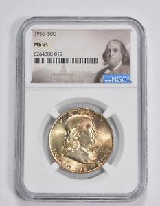 MS64 1956 Franklin Half Dollar - 90% SILVER - NGC Graded *254