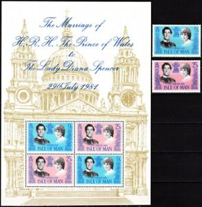 GREAT BRITAIN / ISLE OF MAN 1981 Royal Wedding Diana & Charles. Complete, MNH