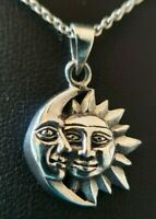 Oxidised 925 Sterling Silver Celestial Moon & Sun Pendant Necklace Chain 18""