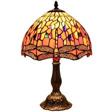 Bieye 12 inch Dragonfly Tiffany Style Stained Glass Table Lamp with Metal Base
