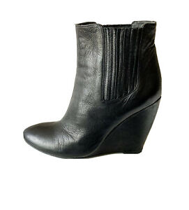 SABA STUNNING LEATHER WEDGE ANKLE BOOTS, Sz 38 (7), VGC, RRP $229!