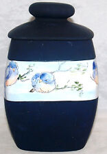 HAND PAINTED BLUE BIRD PORCELAIN BISCUIT JAR HEINRICH H & CO SELB BAVARIA