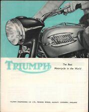 Triumph Motorcycle Brochure Bonneville Trophy 500 Cub 1957 Original Old Stock