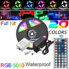 Waterproof LED Strip light 5M RGB 5050 SMD 44Key Remote 12V US EU Power Full Kit
