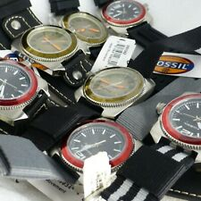 Lot 7 new Fossil WB1042 WB1043 Men's Watches Wholesale Resale Black Red 10atm D