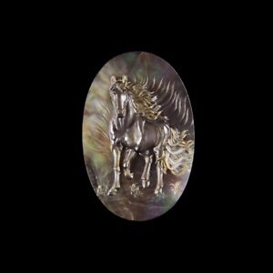 Carved Horse MOP Pearl CAB GL008023