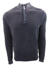 New Mens Tommy Bahama East River Half Zip Cotton Sweater Weather Ash Grey Medium