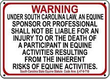 South Carolina Equine Sign liability warning statute horse farm barn stable