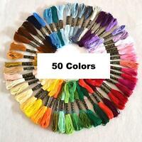 50 Colors Embroidery Thread Hand Cross Stitch Floss Sewing Skeins Craft DIY