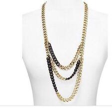 "Michael Kors 2 Tone Black Gold Multi Row Chain Necklace 32"" MKJ3656931 NEW $295"